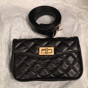 Convertible Black Quilted Clutch Purse
